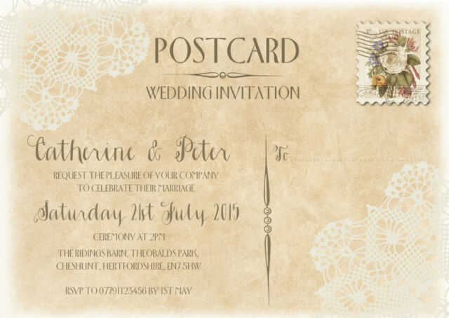 PERSONALISED SHABBY CHIC VINTAGE POSTCARD LACE WEDDING INVITATIONS PACKS OF 10