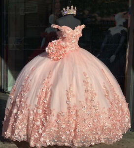 Off the Shoulder Pink Quinceanera Dresses Applique Beaded Prom Gown Sweet 15 16