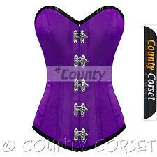 Stecche acciaio lungo Tronco Overbust C Gancio bustier viola corsetto in Satin korset