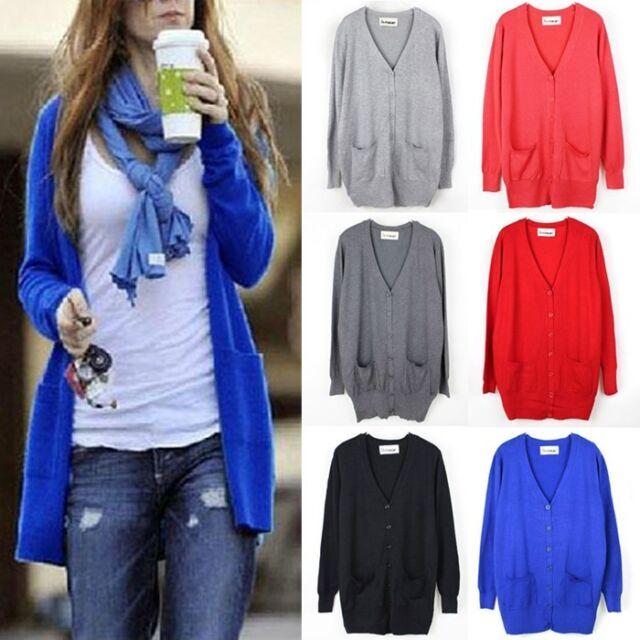Womens Cardigan Loose Long Sleeve Knit Sweater Coat Jumper Outwear Tops Jacket