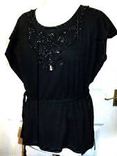 NEW MALVIN BLACK EMBELLISHED WRAP TIE TOP SIZE ONE SIZE FITS 10 12 14 #  627