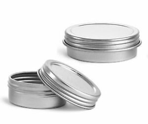 Image Is Loading Silver Metal Tins W Top Lid Threaded Cap