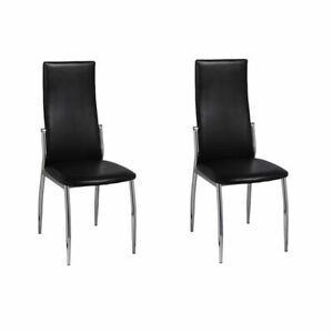 vidaXL 2x Chaise Noire de Salon Cuisine Similicuir Meuble de Salle à Manger LU