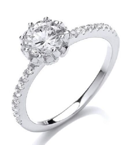 RHODIUM PLATED 925 HALLMARKED SILVER BRILLIANT CUT SOLITAIRE ENGAGEMENT RING