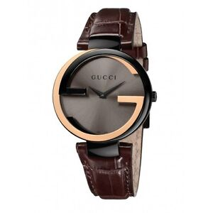 b09d0090439 BRRAND NEW Gucci Interlocking-G Black Dial Brown Leather Ladies ...