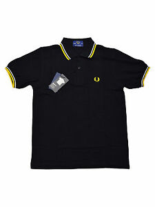 Fred-Perry-Polo-Shirt-M12-220-Made-In-England-Schwarz-Weiss-Gelb-5448