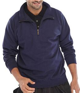 Click-Navy-Blue-1-4-Zip-Mens-Sweatshirt-Jumper-Smart-Work-Builders-Tradesman-New