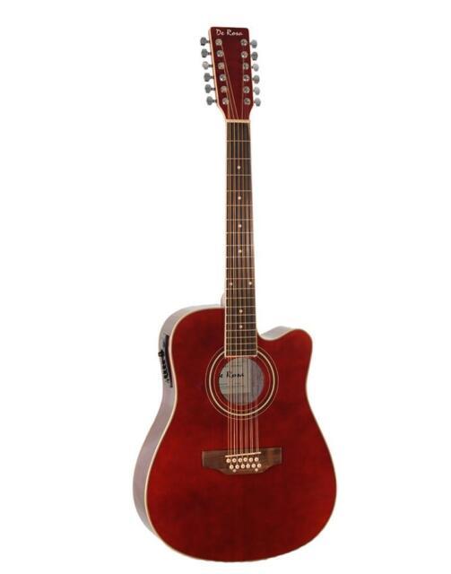12 String AE Acoustic-Electric Guitar De Rosa Burgundy