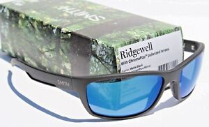 ac6d3ad2a2 Image is loading SMITH-OPTICS-Ridgewell-POLARIZED-Sunglasses -Matte-Black-Blue-