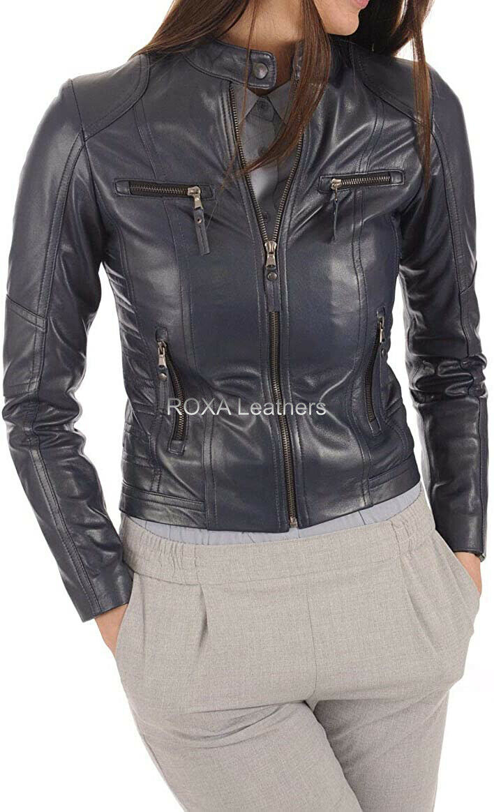 ROXA Women Soft Inner Lining Authentic Lambskin Pure Leather Jacket Fashion Coat