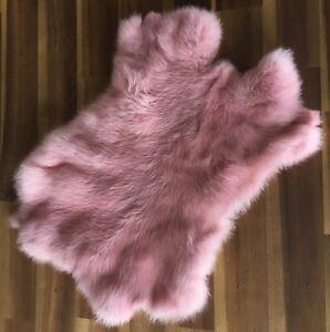 2x-Pink-Rabbit-Skin-Fur-Pelt-for-animal-training-crafts-fabric-LARP-TR10