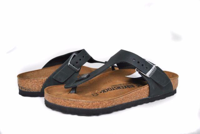 bbbaccaf630 Birkenstock Gizeh in Black Oil Leather Regular Width Hard Foot Bed Sz 36-39  NEW