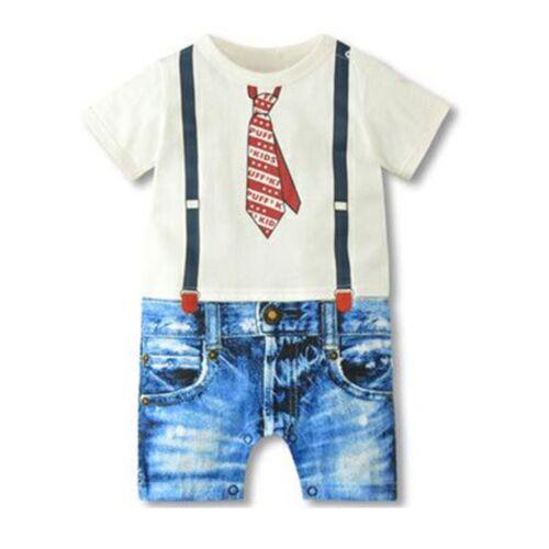 0-18M Infant Baby Boy Kids Gentleman Jumpsuit Romper Bodysuit Onesuit  Clothes