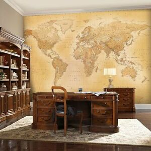 Vintage world map wallpaper wall mural 232m x 315m new free pp image is loading vintage world map wallpaper wall mural 2 32m gumiabroncs Image collections