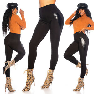 Self-Conscious High Waist Leggings Women Leggings Treggings With Faux Leather Placement Curing Cough And Facilitating Expectoration And Relieving Hoarseness