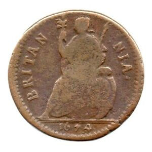 KM# 436.1 - Farthing - Charles II - England - Great Britain 1674 (Fair)