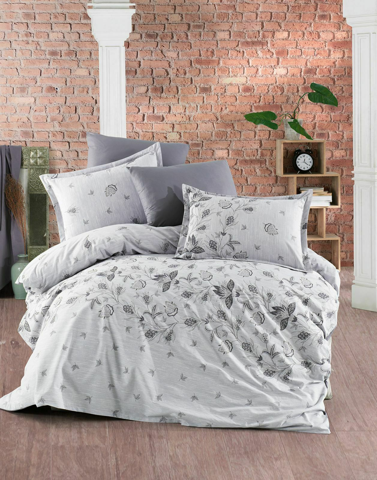 Bettwäsche 220x240 cm Bettgarnitur Bettbezug 100% Baumwolle Kissen 6 tlg SPRING