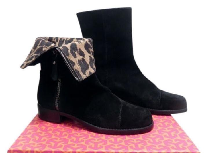 Stuart Weitzman Duluth Leopard Print-lined Black Boots Size 6M Retail $475