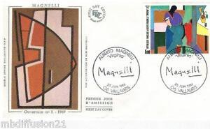 1986-ENVELOPPE-SOIE-FDC-1-JOUR-ALBERTO-MAGNELLI-TIMBRE-Y-T-2414
