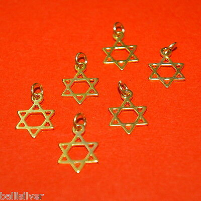 6 pieces 14kt GOLD FILLED Small 10mm STAR of DAVID Charm Pendants Lot