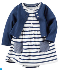 Carter's 2-Piece Bodysuit Dress & Cardigan Set Blue Stripes 3M