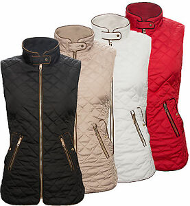 Ladies-Vest-Quilted-Jacket-Stand-up-collar-Outdoor-Sleeveless-D-72-NEW