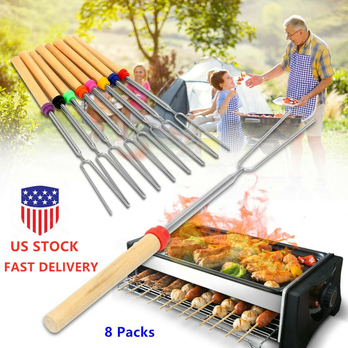 40x 32/'/' Extendable BBQ Marshmallow Roasting Sticks Smores Skewers Hot Dog Fork