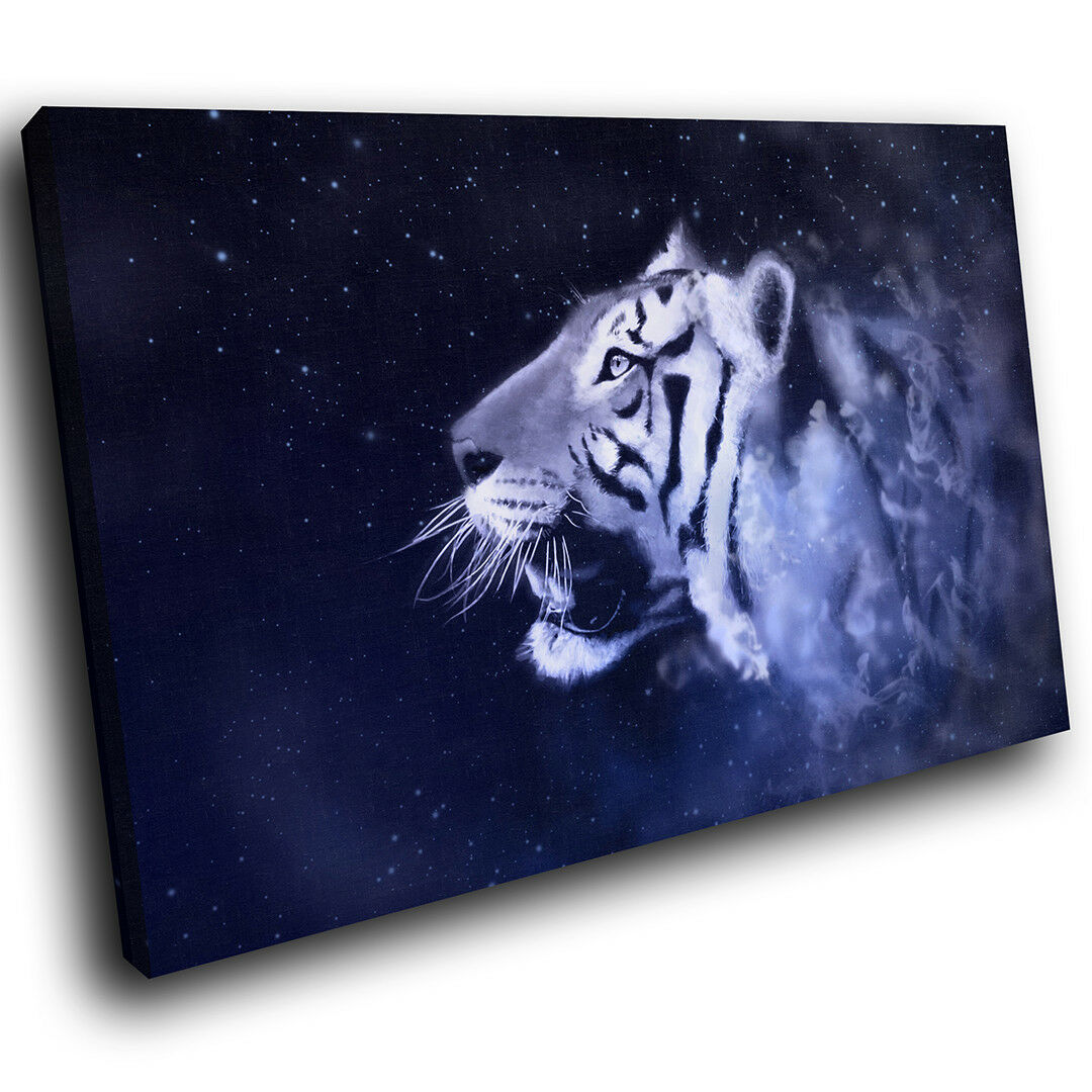 A367 Tiger Blau Stars Fantasy Funky Animal Canvas Wall Art Large Picture Prints