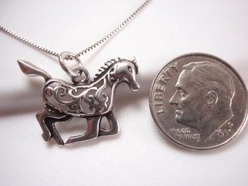 Cheval en Filigrane Argent Sterling 925 Pendentif Corona Sun Jewelry Equine stable