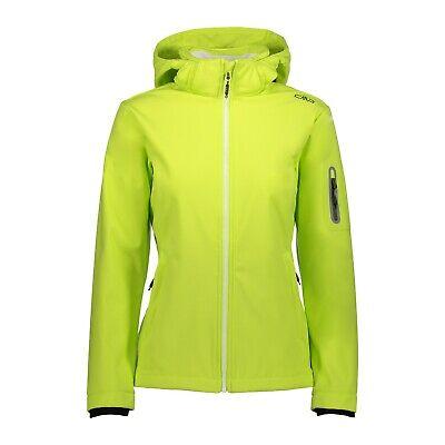 Aspirante Cmp Softshell Giacca Giacca Woman Jacket Zip Hood Verde Chiaro Vento Di Tenuta Impermeabile-mostra Il Titolo Originale
