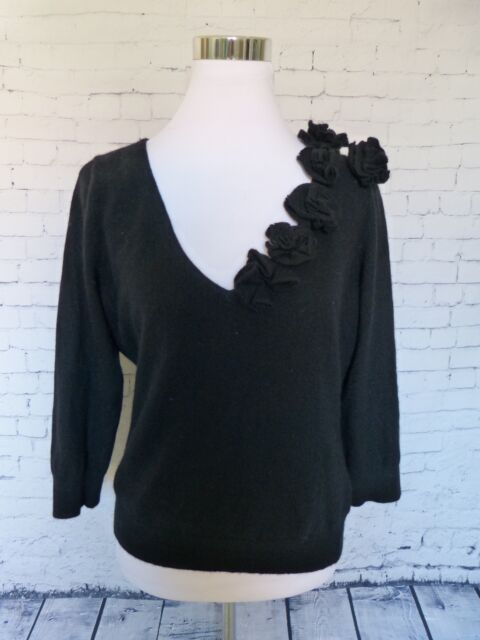 Banana Republic Angora Wool Black Rosette V Neck 3/4 Sleeve Sweater Size L