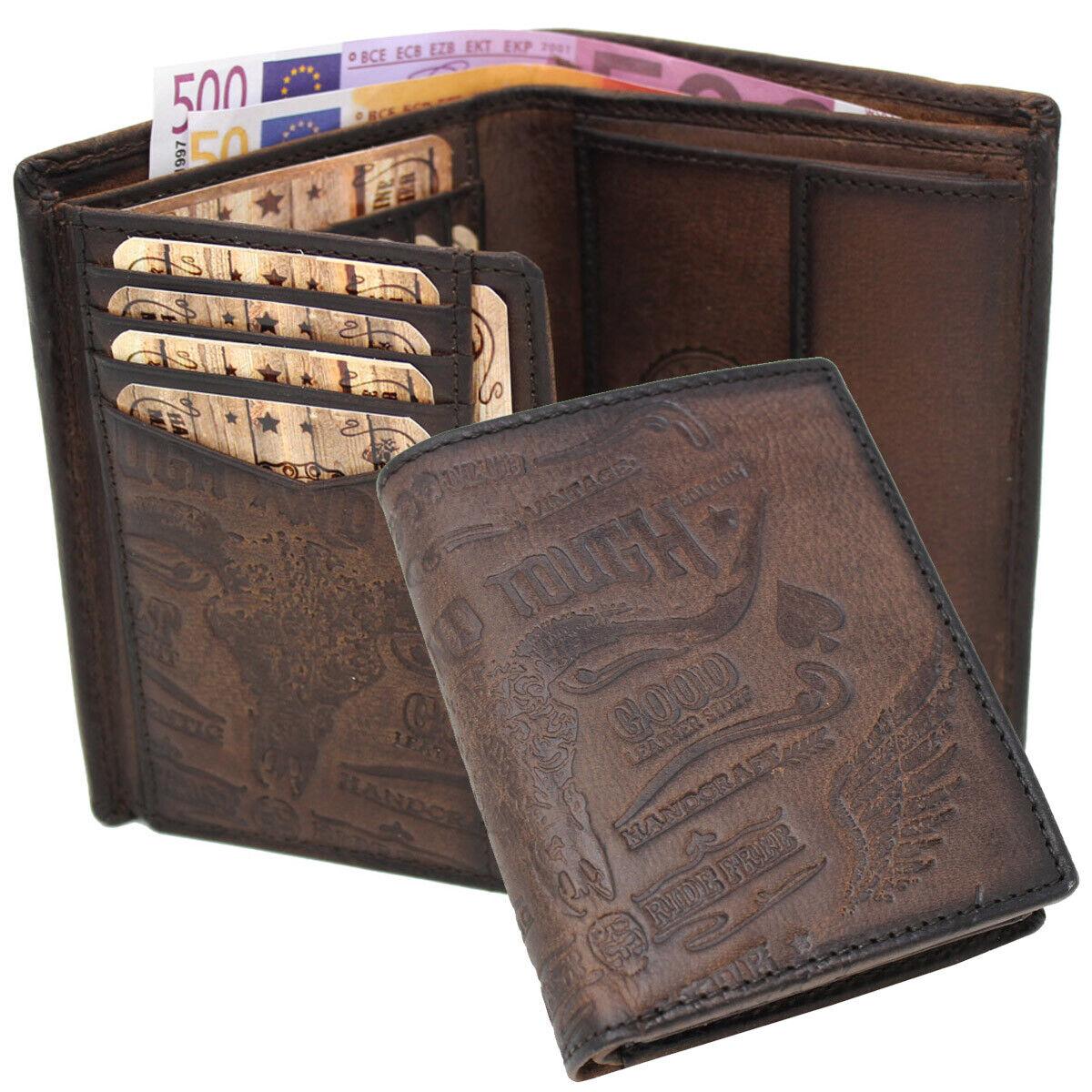 Herren Geldbörse Geldbeutel Portemonnaie Bikerbörse Leder RFID Rough & Tough