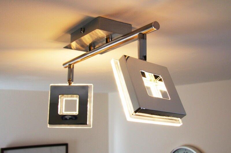 LED Deckenleuchte Design Deckenlampe Leuchte Chrom Deckenstrahler Glas Lampe NEU