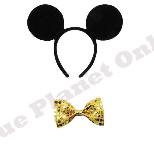 MICKEY MOUSE EARS HEADBAND /& GOLD BOW TIE FANCY DRESS BOOK WEEK