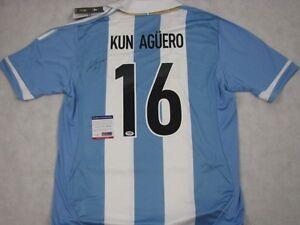 SERGO KUN AGUERO Hand Signed Jersey Argentina + PSA DNA COA BUY ... e9fcaea81