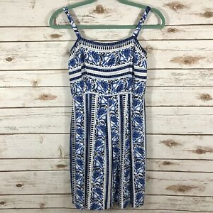 Loft Size 0 Petite Blue White Floral Print Fit And Flare