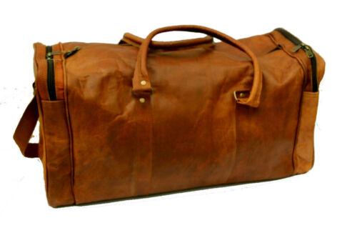 Gym Duffle Sac voyage Vintage cuir Marron Homme Véritable naturel Travel de en zVqUpMS