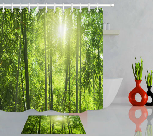 Green Bamboo Forest Sunlight 100/% Polyester Fabric Shower Curtain Bathroom Hooks