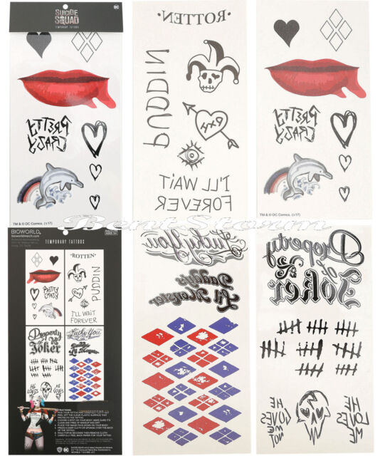 Dc Comics Suicide Squad Harley Quinn Cosplay Body Temporary Tattoos 4 Pack New