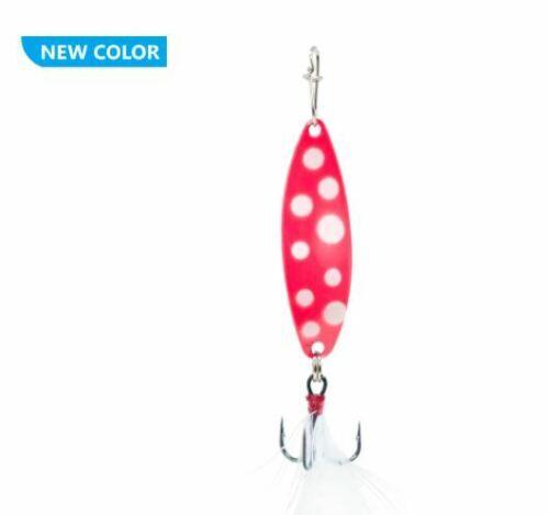 Clam Panfish Leech Flutter Spoon Glow Pink Wonderbread 1//32 oz #14 Treble Hook