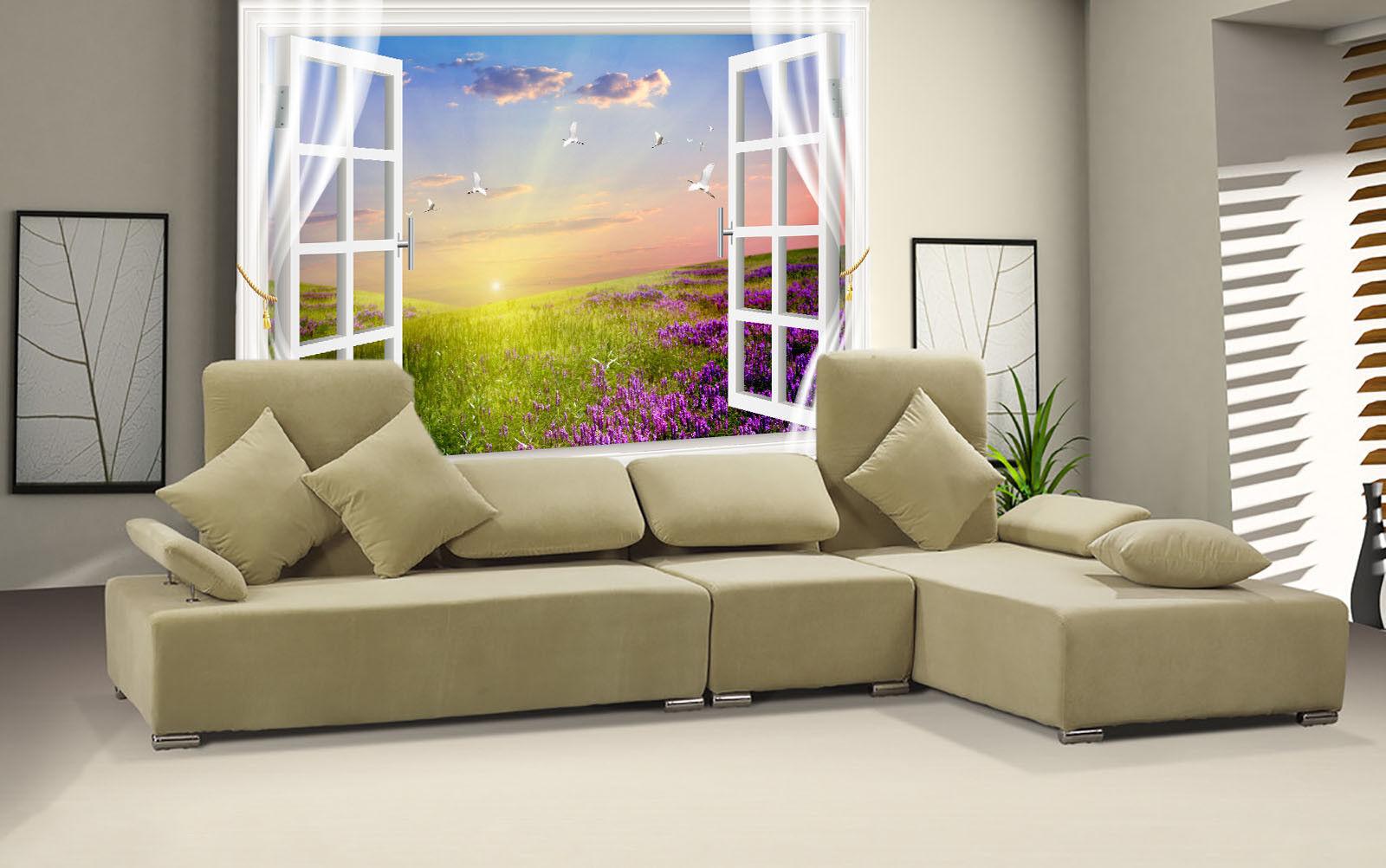 3D Reiher Hanada Fenster 744 Tapete Wandgemälde Tapete Tapeten Bild Familie DE