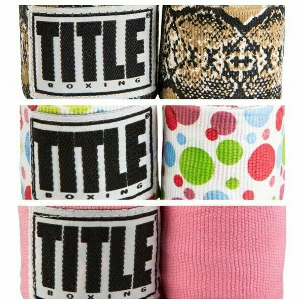 "TITLE Boxing Hand Wraps Semi Elastic 180/"" PINK SNAKE POLKA DOT Python MultiColor"