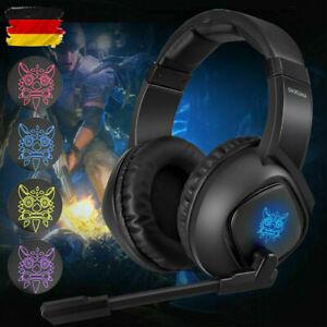 Gaming Kopfhörer Headset mit Mikrofon HD Stereo USB RGB LED für PS4 Xbox One PC