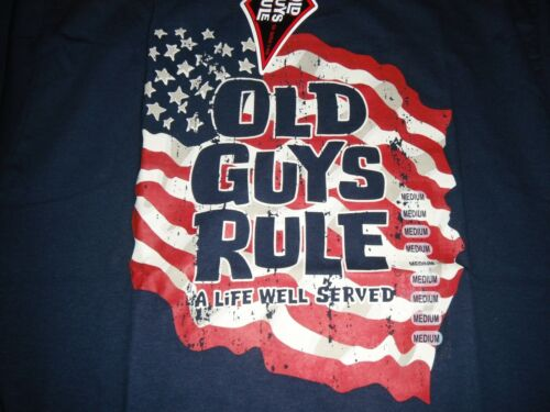 OLD GUYS RULE Mens T-Shirt Size M Navy Blue Flag A LIFE WELL SERVED