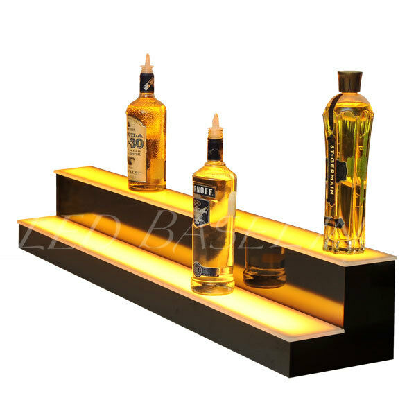 48 2 Step Led Lighted Glowing Liquor Bottle Display Shelf Home Back Bar Rack Ebay