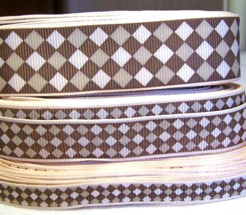 16 ou 25 mm 10 RUBAN GROS GRAIN couleur largeur au choix CARREAU LOSANGE