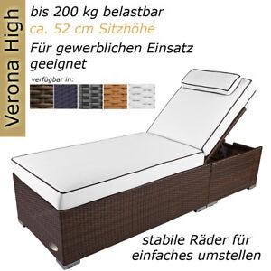 Details zu Sonnenliege Gartenliege Liege Liegestuhl Strandliege Polyrattan  Rattan Braun