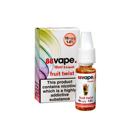 88 Vape E Liquid - 20 x 10ml (200ml) - PG/PV - 11mg & 16mg in 18 Flavours -  Vape