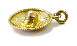 18K-Yellow-Gold-Mexican-Sombrero-Hat-Charm-Necklace-Pendant-1-6g