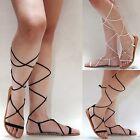 New Women DLcS Black Blush Gladiator Wrap Lace Up Flat Sandals sz 5 to 10